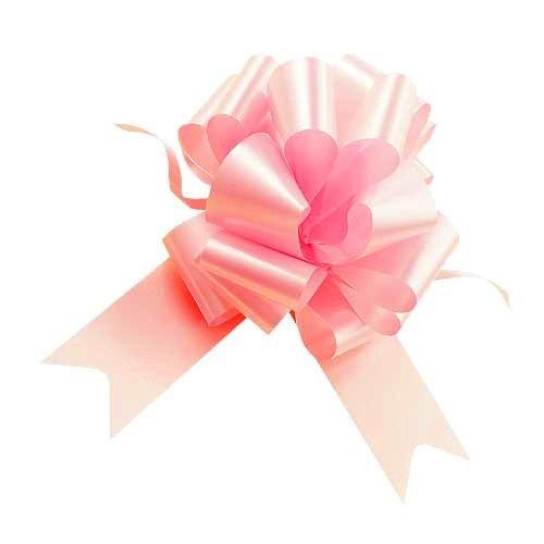 Confezione da 50 PZ coccarde rosa autotiranti gran fiocco, nastro da 5 cm, per nascita bimba