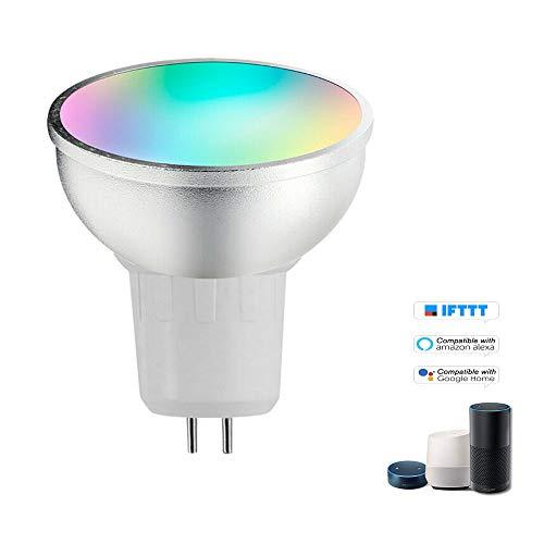 OWSOO V18 Bombilla Inteligente WiFi, RGB+W LED 6W GU5.3, Luz Regulable LED, Soporte Control Remoto del Teléfono, Compatible con Alexa Google Home/Tmall Genie, Bombilla de Control de Voz