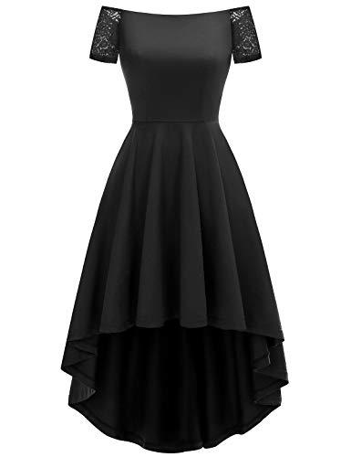 YOYAKER Damen Sommerkleid Kleid Vintage Retro Schulterfrei Spitzen Kurzarm Brautjungfernkleider Cocktail Party Abendkleider Black XL