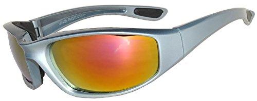 Gafas de motociclista acolchadas de espuma para mujer, color rosa con protección UV del 99%, Gris (Siver), Medium