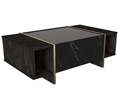moebel17 5224 Veyron Couchtisch Sofatisch Wohnzimmertisch Tisch fürs Wohnzimmer, Holz, Braun Dunkelgrau Marmor Optik, Hochglanz, Ablagefächer, Stauraum mit Tür, Designertisch, 103,8 x 37,3 x 60 cm