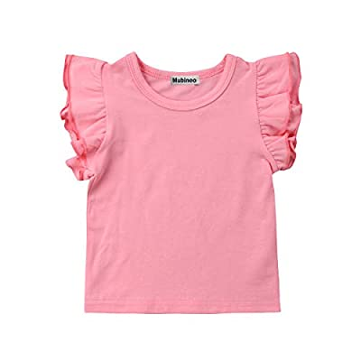 Mubineo Toddler Baby Girl Basic Plain Ruffle Sleeve Cotton T Shirts Tops Tee Clothes (Pink, 4-5T)