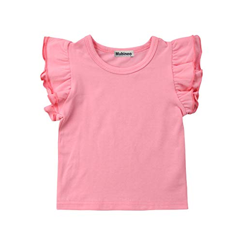 Mubineo Toddler Baby Girl Basic Plain Ruffle Sleeve Cotton T Shirts Tops Tee Clothes (Pink, 1-2T)