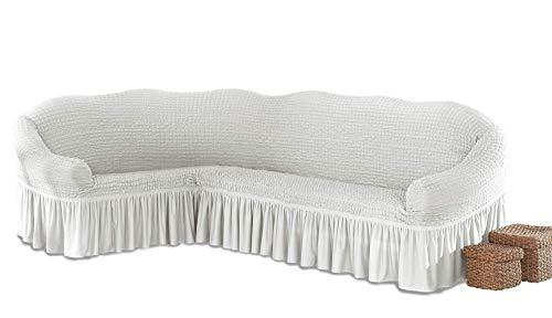 My Palace Beatrice elastischer Ecksofabezug mit Anti-rutsch Schaumstoffankern L-Form Sofahusse Eckcouch Cover Sofa Überwurf Spannbezug, Weiß