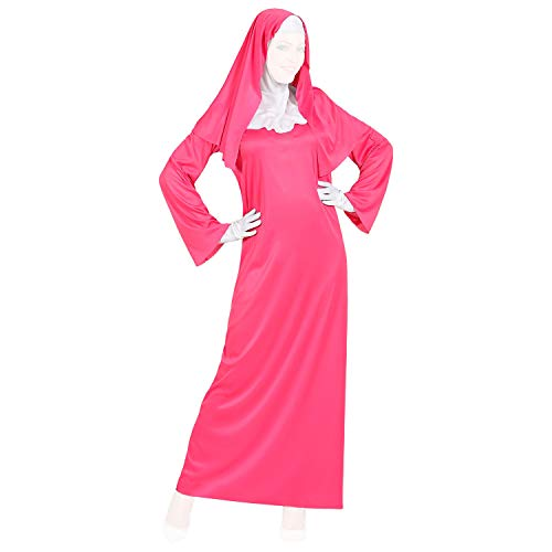 COM-FOUR® non in roze - kostuumjurk met witte handschoenen, kamerjas en sluier - kimono kinderkostuum in verschillende maten met jurk, riem en haaraccessoires