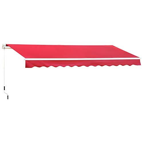 Outsunny Tenda da Sole per Esterno Avvolgibile a Manovella, Copertura Impermeabile, Metallo e Alluminio, Rosso Scuro, 400x250cm