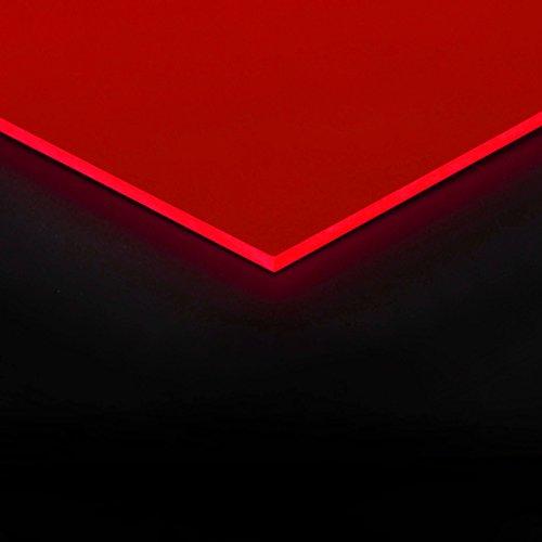 3mm Acrylglas Platte 50x25 cm rot fluoreszierend
