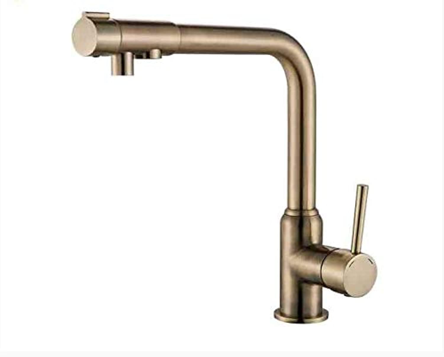 Decorry Antique Brass Kitchen Faucet Deck Mounted Hot and Cold Water Switch Single Handle One Hole Mixer Tap Ceramic Valve