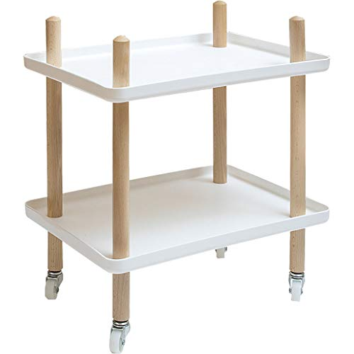 PENGJIE End Table End Side Tables Nightstands Patio Coffee With iron plate with Rolling Casters Reversible Espresso Multipurpose for Small Space Bedside Restaurant Home Side Table