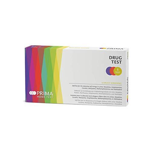 PRIMA Home Test - Drogentest (Urin) - Multi-Drogen Test 6 Drogenarten - Amphetamin, Meth Amphetamin, Kokain, Morphium, Marihuana THC Haschisch und Methadon