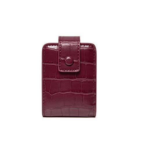 ZHDXW Mini estuche para pintalabios, bolsa de cosméticos con espejo, bolsa de viaje, organizador de piel sintética, portátil, pequeño almacenamiento de belleza, color rojo vino