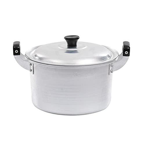 Yardwe Olla de Aluminio con Doble Mango Olla de Fideos Olla de Ramen de Comida Coreana Olla de Sopa de Guiso Olla de Cocina Pasta Utensilios de Cocina 18Cm