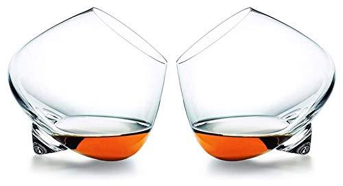 SoGuDio Decantador Gafas de Whisky, vidrieras de Cristal Antiguas para Beber escocés, borbón, irlandés, Cerveza, cócteles de Vino de Vino Tazas de Bebidas, Conjunto de 2, 520ml Decantador de Whisky