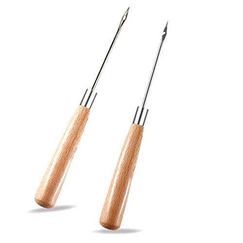 Zxiixz 2 PCS Awl Leather Sewing Awl with Wood Handle Hollow Speedy Stitcher Sewing Awl for DIY Leather Sewing amp Stitching