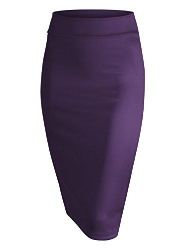 Made By Johnny WB700 Womens Scuba Midi Skirt L Eggplant