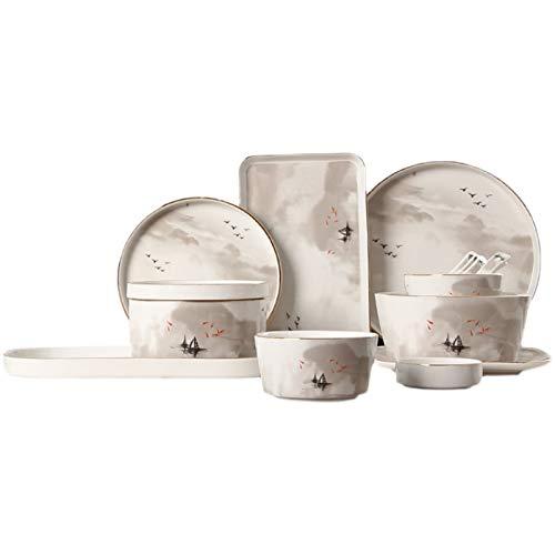 Juegos De Vajillas De Porcelana, pintura de paisaje de estilo chino juego de cena de porcelana de 48   Juego de tazón de cereal y plato de carne para la cena familiar