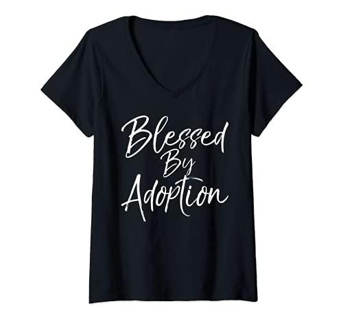 Donna Simpatico regalo di adozione cristiana per mamme benedette da adozione Maglietta con Collo a V