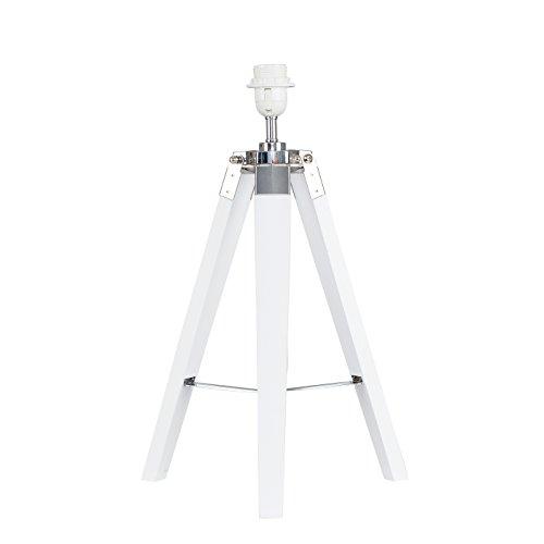 Modern White Wood and Silver Chrome Tripod Table Lamp Base