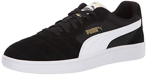 PUMA Men's Astro Kick Sneaker, Black-White-teamgold, 12 M US