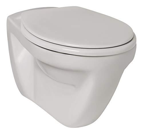 Calmwaters® Wand-WC in Weiß mit Hygiene-Beschichtung, Hänge-WC Universal als Flachspüler mit waagerechtem Abgang, Toilette hängend, 08AB3377