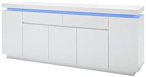 Robas Lund Sideboard 200 cm breit Weiß Hochglanz mit LED Farbwechsel-Beleuchtung mit Fernbedienung, BxHxT 200x81x40 cm