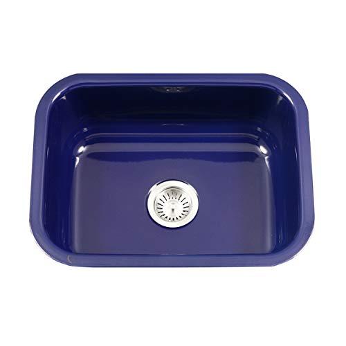 Houzer PCS-2500 NB Porcela Series Porcelain Enamel Steel Undermount Single Bowl Kitchen Sink, Navy Blue