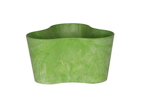 Ivyline Artstone Pflanzgefäß Pflanzkübel dreieck Claire, frostbeständig und leichtgewichtig, Limegrün, 26x14cm, Durchmesser 26cm x Höhe 14cm