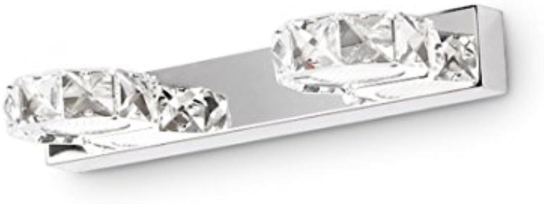 Aglia UK Kristall einfach Badezimmerspiegel Licht Toilette Spiegelleuchte LED Wandleuchte wasserdicht Edelstahl Spiegel Malerei Lampe ( Farbe   Weies Licht-2 Lights )