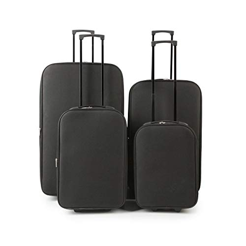 iTrend 4pc Set of Luggage Suitcase Trolley- 1 Cabin Bag Included - Black