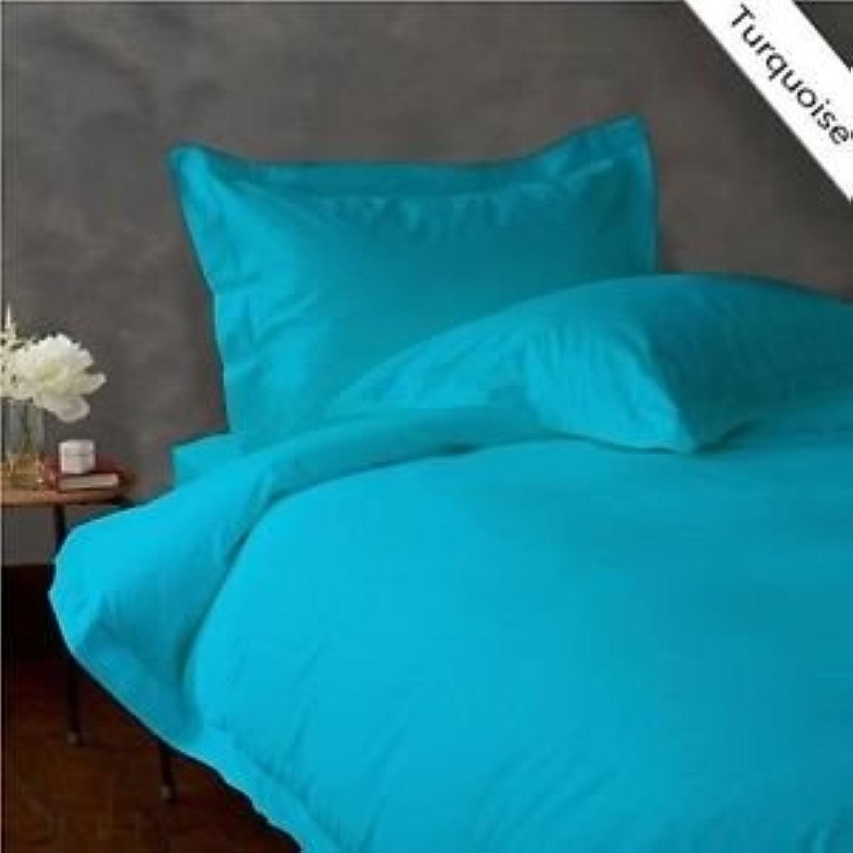 Dreamz Parure de lit Super Doux 650Fils 100% Coton 1Housse de Couette (100g m2 Fibre Fill) Single Long, Bleu Turquoise Bleu Sarcelle Solide Coton égypcravaten 650tc Doudou