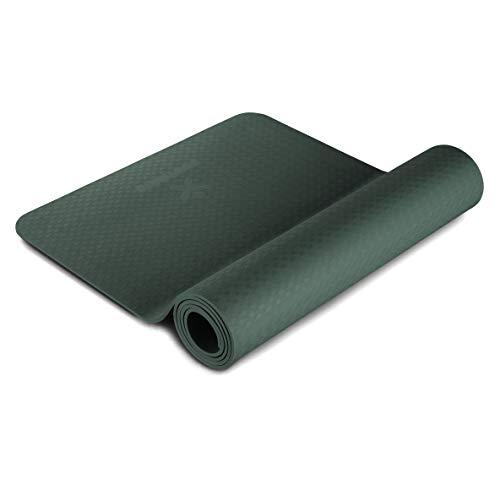 BODYMATE Yogamatte Premium TPE Midnight-Green - Größe 183x61cm – Dicke 6mm – Schadstoffgeprüft frei von Phthalaten, BPA, Schwermetallen – Trainings-Matte für Fitness, Yoga, Pilates, Functional