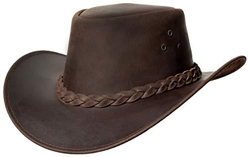 Leather Hats Leren Safari-hoed met Band Lederen Hoed Gestileerd in Zuid-Afrika Cowboy/Outback/Australische/Style Waxy Hat, BRON, L