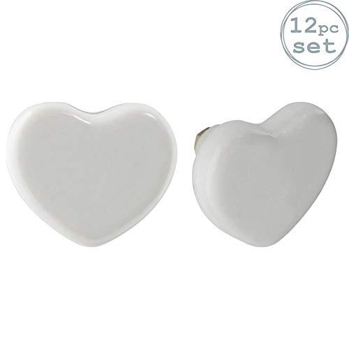 Nicola Spring Pomello per cassetto - in Ceramica con Design a Cuore - Bianco - 12 Pezzi