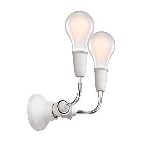 ledscom.de Wand-Leuchte Elektra, Porzellan, mit Schwanenhals zweiflammig, inkl. 2 E27 LED Lampen matt warm-weiß, je 1500lm