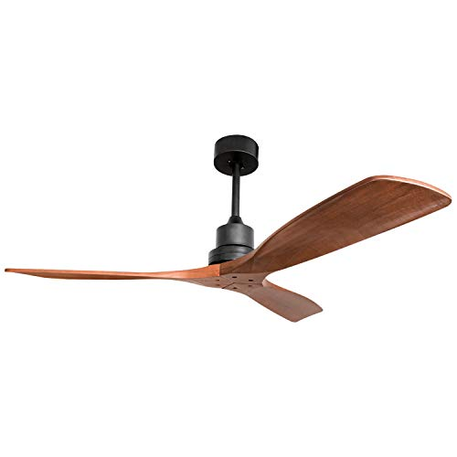 52-in Classic Indoor Ceiling Fan 3 Blades Mute Motor Reverse with Remote without Light, Solid Walnut and Matte Black