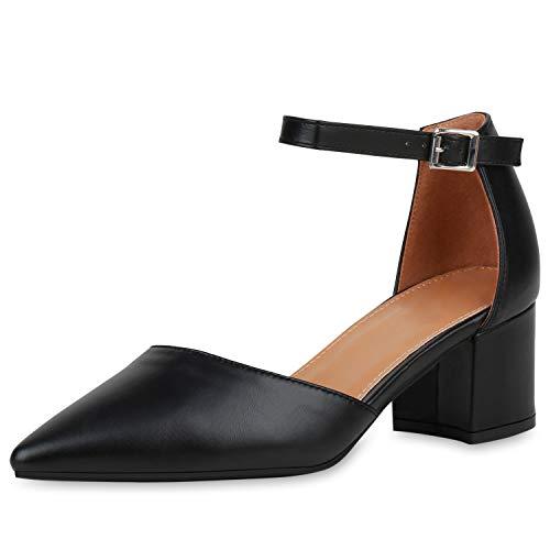 SCARPE VITA Damen Spitze Pumps Klassische Riemchenpumps Mid Heels Blcokabsatz Schuhe Leder-Optik Absatzschuhe 190847 Schwarz Black Total 39