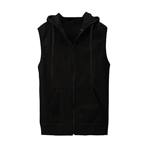 YCQUE Männer Unterhemd Fashion Tank Tops Ärmelloses Reißverschluss Feste Kapuzenweste Dünne Jacke Bluse Tops Shirt Mit Taschen Westen Achsel Shirts