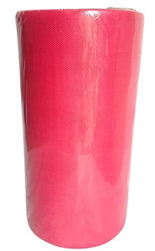 Rouleau de 100 mètres de tulle de 25 cm de largeur, coloris ivoire, blanc, rouge, bleu, rose, turquoise Fuchsia