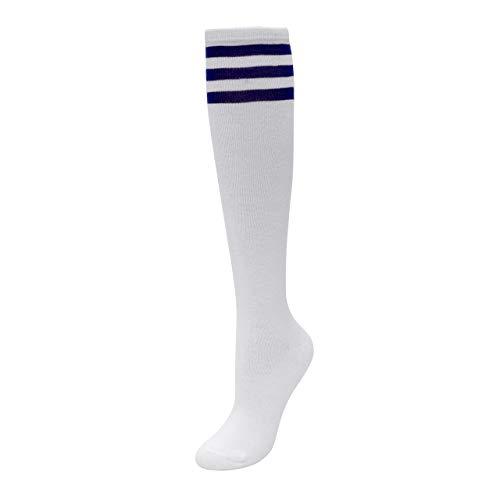 CHIC DIARY Kniestrümpfe Damen Mädchen Fußball Sport Socken College Cheerleader Kostüm Strümpfe Cosplay Streifen Strumpf, Weiß Blau Streifen, Einheitsgröße