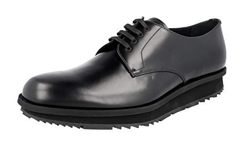 Prada Herren Schwarz gebürstetes Spazzolato-Leder Leder Business Schuhe 2EE092 B4L F0002 45 EU/UK 11