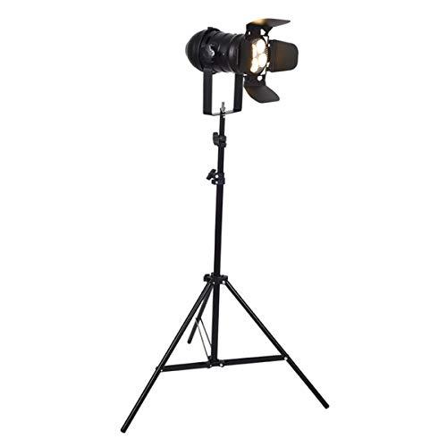 KAISIMYS Trípode para lámpara de pie, lámpara de Lectura de pie con Pantalla Vintage, Estilo de Estudio de Cine, Foco Ajustable, luz de Suelo con Altura Ajustable de 90 cm a 220 cm (Color: Negro)