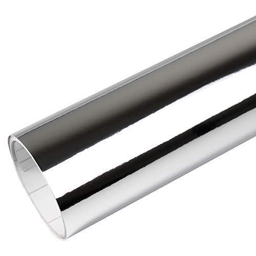 Rapid Teck® 15,79€/m² Premium – Chrom Silber 50cm x 1,52m Auto Folie Blasenfrei mit Luftkanälen für Auto Folierung und 3D bekleben in Matt Glanz und Carbon Autofolie