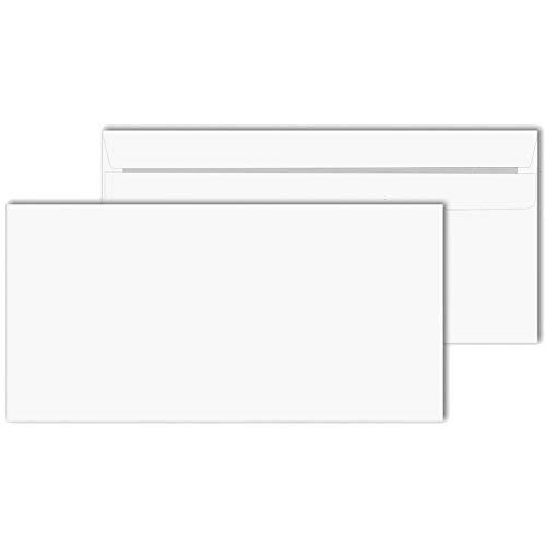 KK Verpackungen® Briefumschläge in DIN lang | 100 Stück, 110x220 mm, Selbstklebende Kuverts ohne Fenster in Weiß