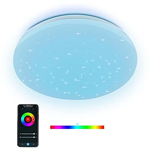 ANTELA Lámpara De Techo LED RGB 24W, Control De Voz Compatible Con Google Home y Alexa, Control Remoto Por, Regulable en Brillo y Color Para Dormitorio Salón Habitacion Pasillo Comedor