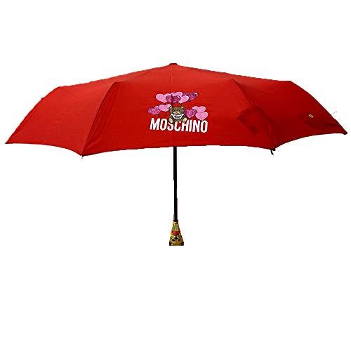 Regenschirm Moschino rot Bälle lila Herzen