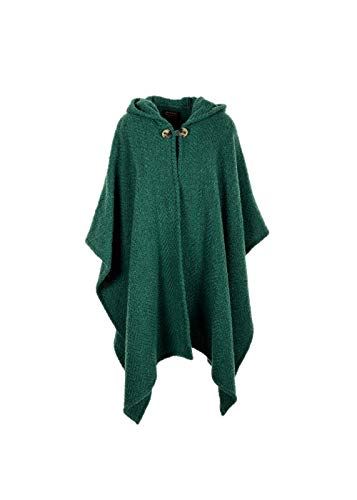 Wool Blend Herringbone Hooded Cape Woven in Ireland (Pine)