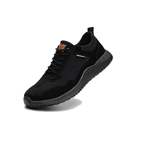 CVAYU Safety Shoes for Men,Work Breathable Industrial Construction Sneakers,Lightweight Steel Toe Shoes for Women (7.5 Women / 6 Men, Black)