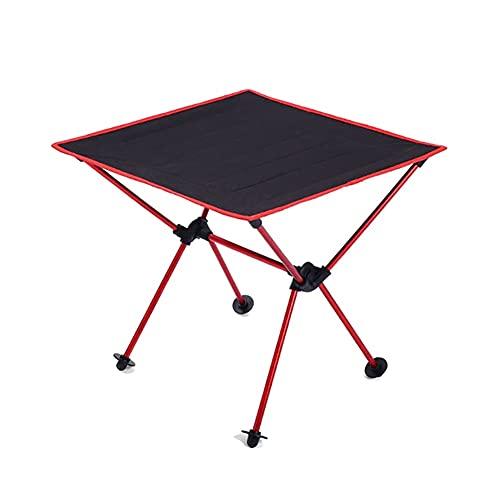 jiaju Klapptisch, Roll Camping-Tisch Tragbares Picknick-Rucksack-Klapptisch Outdoor Fishing Lightweight Gartenschalter für Strandreisen (Color : Red)
