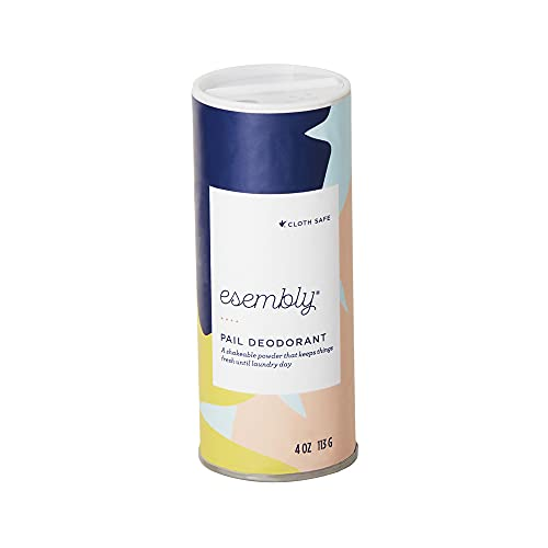 Esembly Pail Deodorant, Shakable Powder Deodorizer for Diaper Pails, Keeps Diapers, Gym Clothes and Dirty Laundry Smelling Fresh, Scents of Rosemary, Lemon and Grapefruit, 4oz
