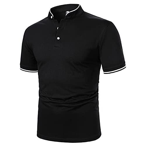 XUEbing Herren Polo-Shirt, kurzärmelig, schmale Passform, groß und hoch, Sommer, lässig, falscher V-Ausschnitt, Knopf Gr. XL, Schwarz